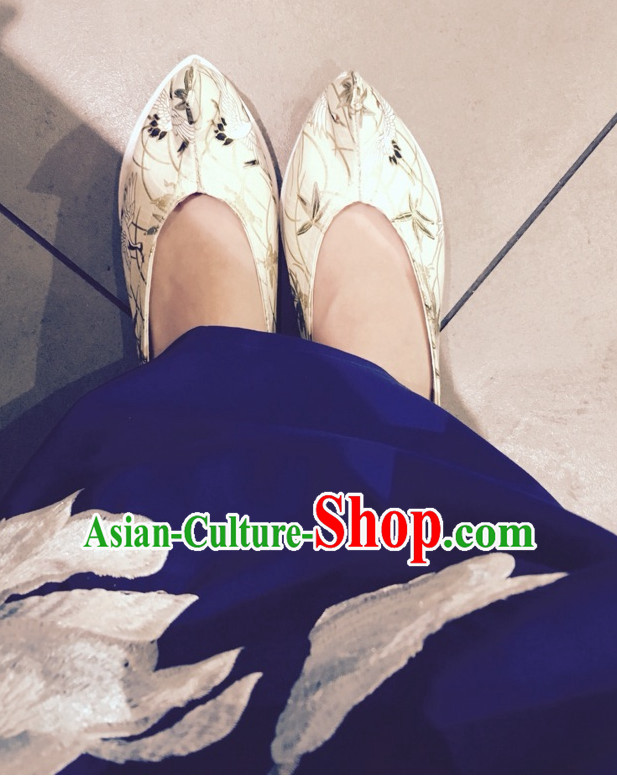 Handmade Chinese Ancient Crane Pattern Princess Shoes for Women and Girls