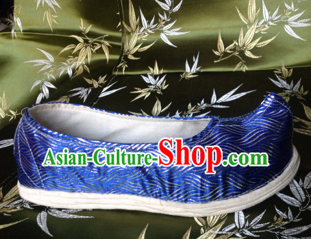 Blue Chinese Ancient Handmade Traditional Bow Fabric Shoes for Women and Girls
