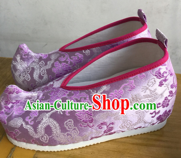 Purple Chinese Ancient Handmade Traditional Bow Fabric Shoes