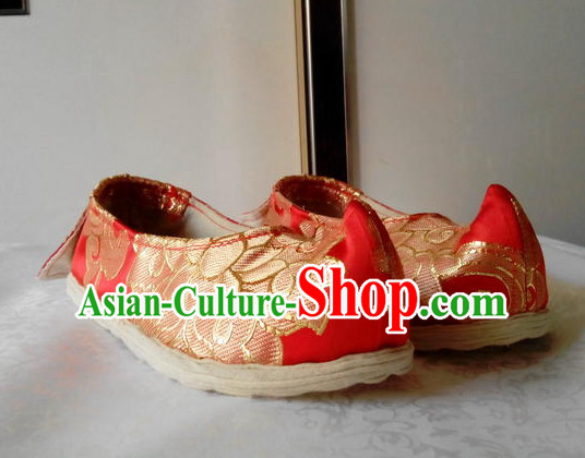 Red Chinese Ancient Handmade Traditional Bow Fabric Shoes for Women and Girls