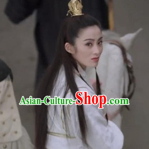 Ancient Chinese Swordsman Hair Accessories and Wig Set