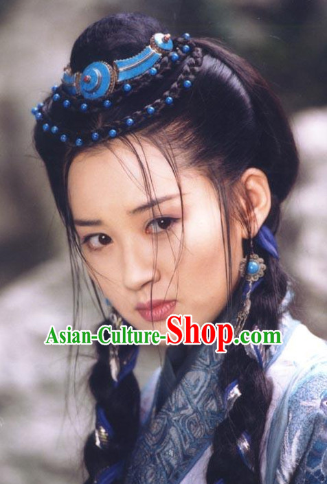 Ancient Chinese Swordswoman Hair Accessories and Wig Set