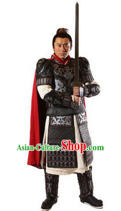 Chinese Traditional Superheroine Armor General Clothing Complete Set for Men