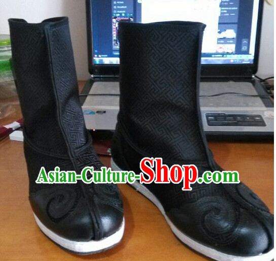 Ancient Chinese Handmade Auspicious Cloud Long Black Boots for Men