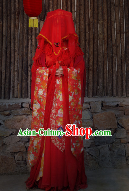 Chinese Traditional Ancient Bridal Costume Complete Set for Women