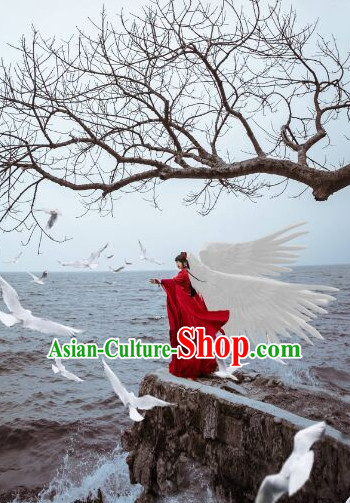 Top Chinese Ancient Red Fairy Angel Costumes Complete Set for Women