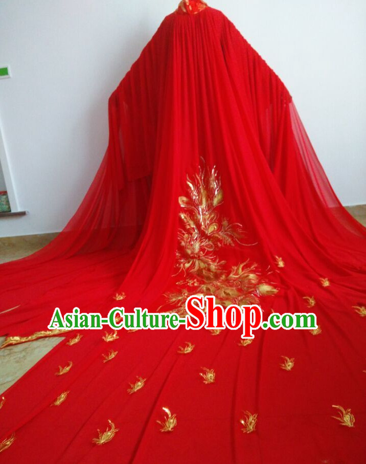 Long Trail Chinese Ancient Red Phoenix Wedding Dress Complete Set for Women