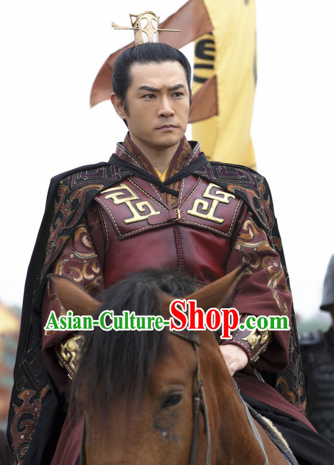 Asian Chinese Ancient Prince Body Armor Costumes and Coronet Complete Set for Men or Boys