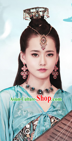 Ancient Chinese Beauties Fairy Female Black Wigs and Hair Styling Accessories Hair Clips Hairpins Jewelry