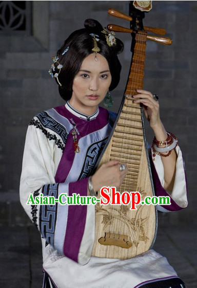 Mandarin Chinese Style Authentic Clothes Culture Costume Minguo Dresses Traditional National Dress Clothing and Headwear Complete Set for Women Girls