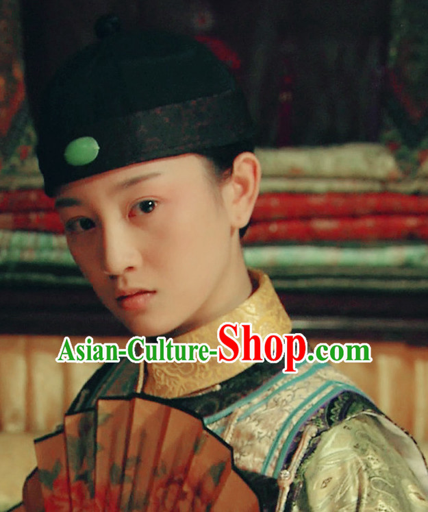 Ancient Chinese Male Black Hat Traditional Landlord or Nobleman Headwear for Men or Boys