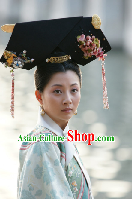 Qing Dynasty Traditional Chinese Imperial Palace Traditional Lady Hat Headwear Headgear Hair Accessories Headdress for Women Girls