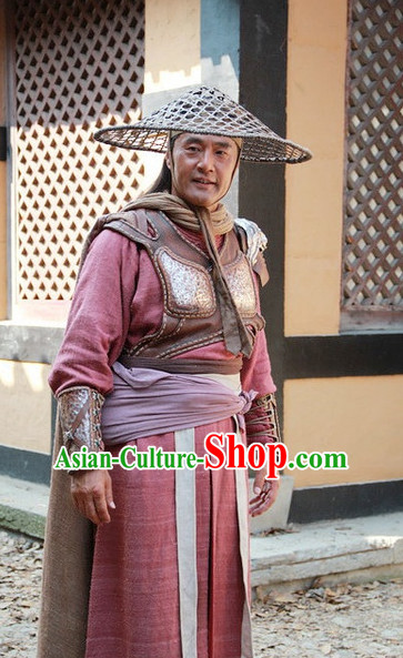 Ancient Chinese Style Authentic Clothes Culture Costume Han Dresses Traditional National Dress Peasant Clothing and Bamboo Hat Complete Set for Girls Kids Adults Men Women