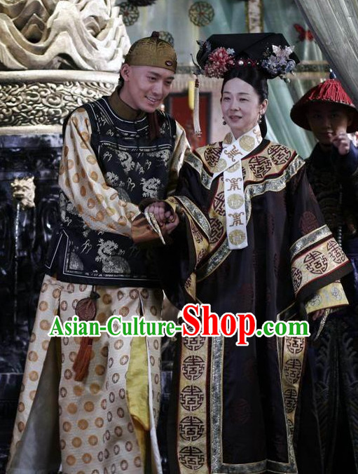 Qing Chinese Style Authentic Emperor Clothes Culture Costume Han Dresses Traditional National Dress Clothing and Headwear Complete Set for Men Boys