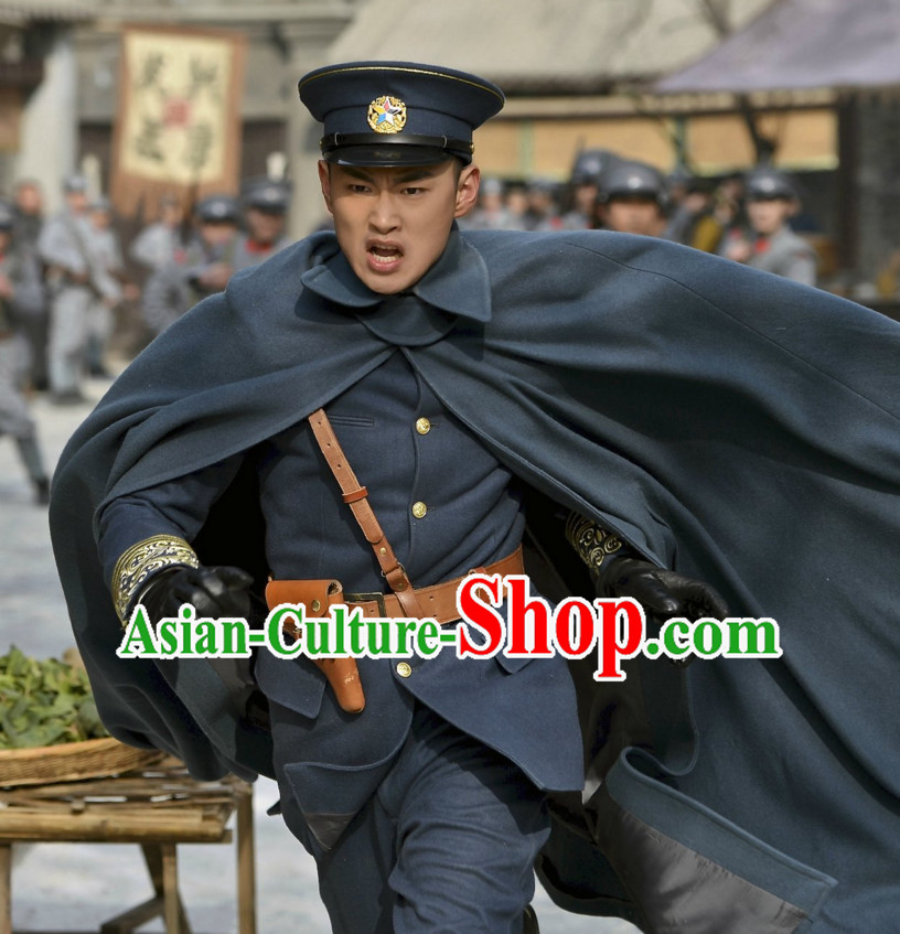 Wuxin The Monster Killer Drama Minguo Chinese Style Authentic Military Uniform Clothes Culture Costume Dresses Traditional National Dress Clothing and Headwear Complete Set for Men Boys
