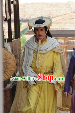 Ancient Chinese Style Authentic Clothes Culture Costume Han Dresses Traditional National Dress Knight Clothing and Bamboo Hat Complete Set for Girls Kids Adults Men Women