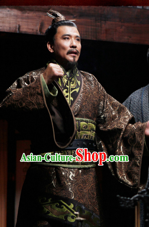 Ancient Chinese Style Minister Long Robe Dress Authentic Chancellor Clothes Culture Costume Han Dresses Traditional National Dress Clothing and Headwear Complete Set for Men