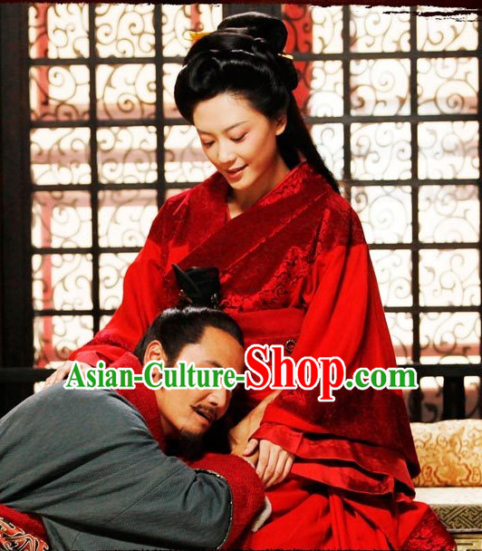 Chinese Empress Style Hanfu Dress Authentic Clothes Culture Costume Han Dresses Traditional National Dress Clothing and Headdress Complete Set for Women