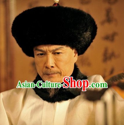 Qing Dynasty Chinese Black Emperor Hat for Men and Boys