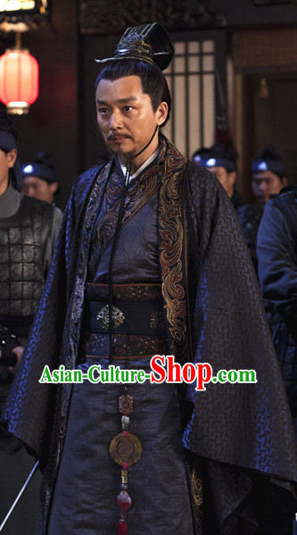 Ancient Chinese Style Minister Dress Authentic Clothes Culture Costume Han Dresses Traditional National Dress Clothing and Headdress Complete Set