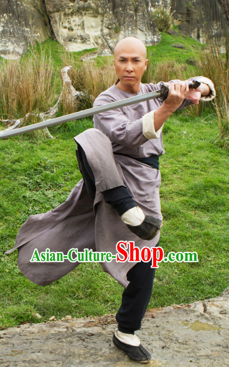 Ancient Chinese Style Kung Fu Costumes Dress Authentic Clothes Culture Han Dresses Traditional National Dress Clothing and Headdress Complete Set