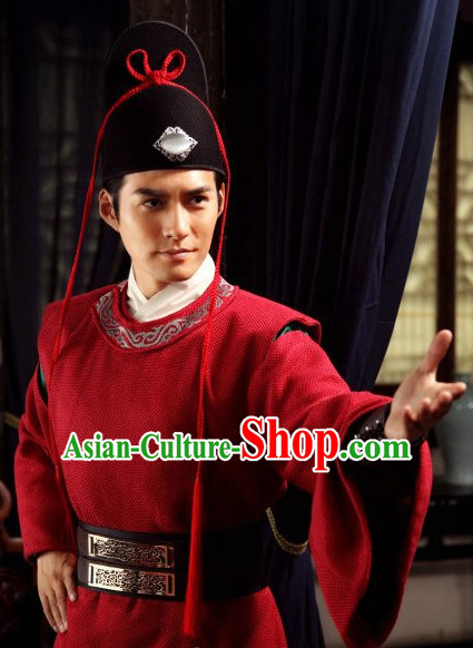 Ancient Chinese Style Policeman Costumes Dress Authentic Clothes Culture Han Dresses Traditional National Dress Clothing and Headdress Complete Set
