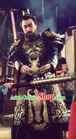 Ancient Chinese Style Emperor Armor Costumes Dress Authentic Clothes Culture Han Dresses Traditional National Dress Clothing and Headdress Complete Set