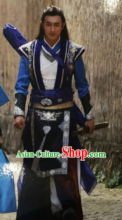 Ancient Chinese Style Superhero Costumes Dress Authentic Clothes Culture Han Dresses Traditional National Dress Clothing and Headdress Complete Set