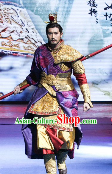 Ancient Chinese Style Emperor King Armor Costumes Dress Authentic Clothes Culture Han Dresses Traditional National Dress Clothing and Headdress Complete Set
