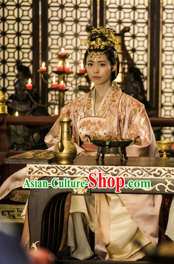 Ancient Chinese Style Palace Princess Costume Dress Authentic Clothes Culture Han Dresses Traditional National Dress Clothing and Headdress Complete Set