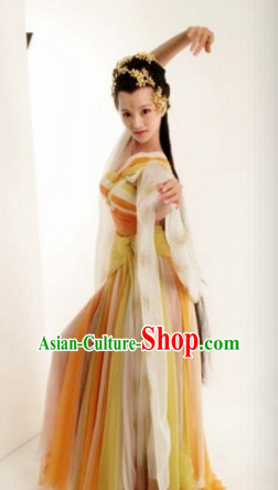 Ancient Chinese Palace Dancer Costume Dress Authentic Clothes Culture Han Dresses Traditional National Dress Clothing and Headpieces Complete Set for Ladies