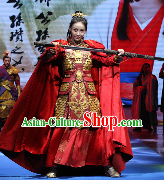 Ancient Chinese Style Superheroine Armor Costumes Dress Authentic Clothes Culture Han Dresses Traditional National Dress Clothing and Headpieces Complete Set