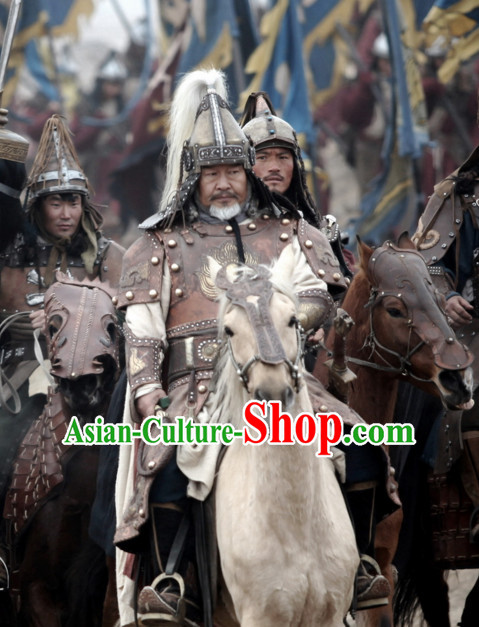 Ancient Chinese Style Genearl Body Armor Costumes Dress Authentic Clothes Culture Traditional National Clothing Complete Set for Old Men