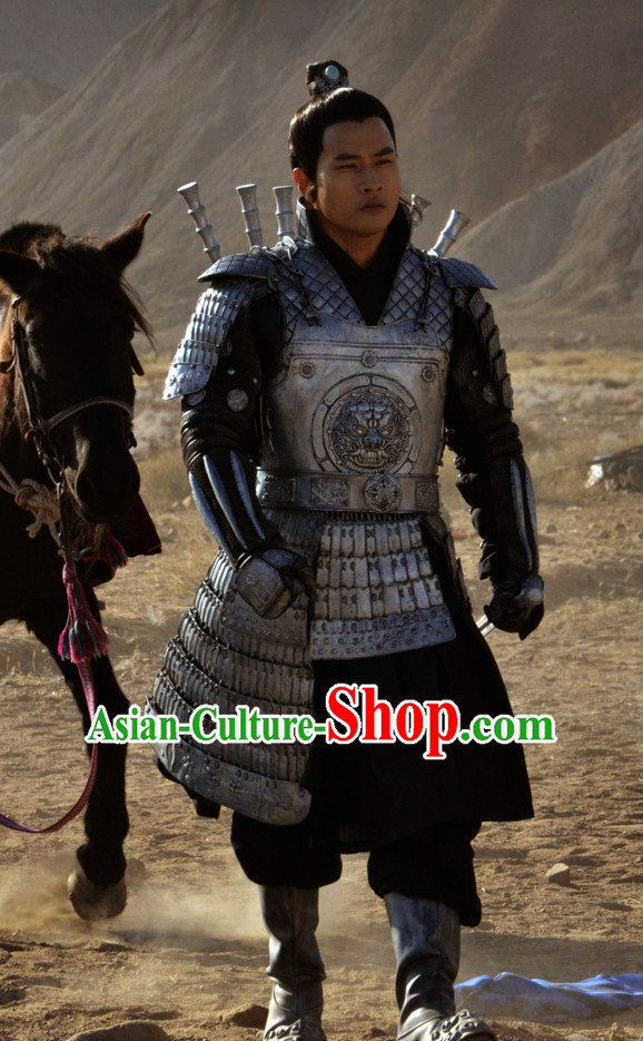 Ancient Chinese Style Samurai Body Armor Costumes Dress Authentic Clothes Culture Traditional National Clothing Complete Set for Old Men
