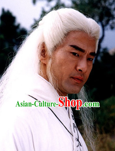 Ancient Chinese Style White Male Long Black Wigs and Headband Set for Old Men