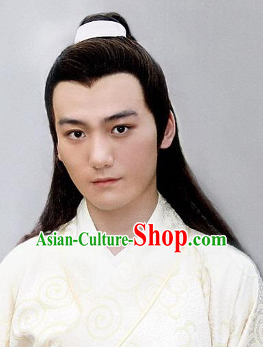 Ancient Chinese Style Jia Baoyu Male Long Black Wigs and Headband Set