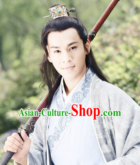 Ancient Chinese Style White Male Long Black Wigs and Coronet Set for Young Men