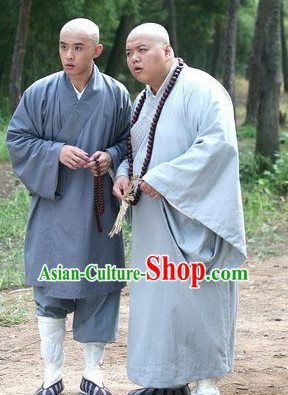 Ancient Chinese Style Male Monk Long Robe Costumes Dress Authentic Clothes Culture Traditional National Clothing Complete Set