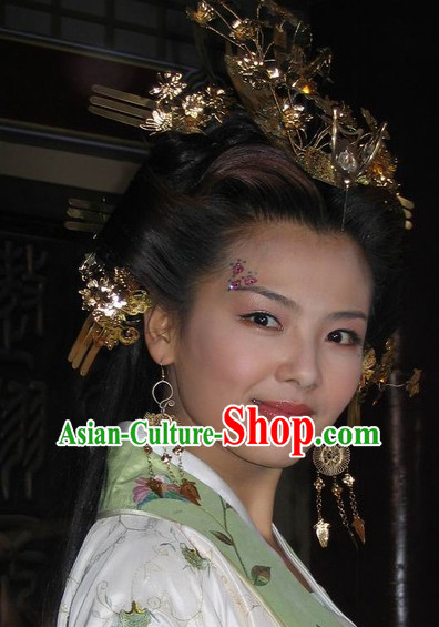 Traditional Chinese Style Empress Black Wigs and Headwear Set