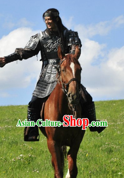Ancient Chinese Female General Armor Costumes Samurai Suit and Hairpieces Complete Set for Women