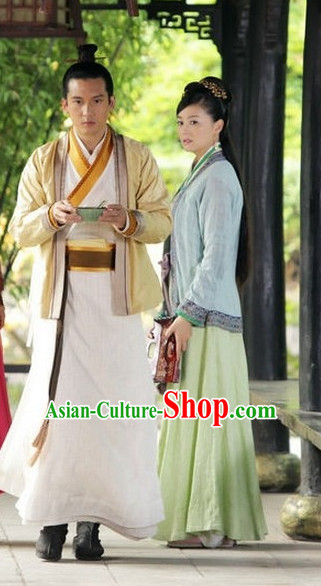Ancient Chinese Style Fantasy Drama Swordman Costumes Complete Set for Men or Boys
