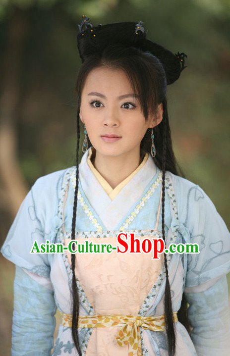 Traditional Chinese Lady Black Wigs and Hair Accessories Complete Set