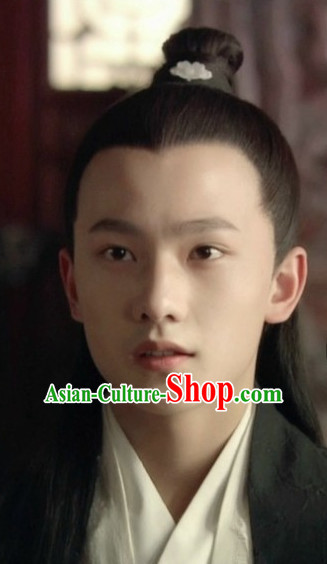 Traditional Ancient Chinese Style Black Full Wig and Headband Set for Men Teenagers Boys