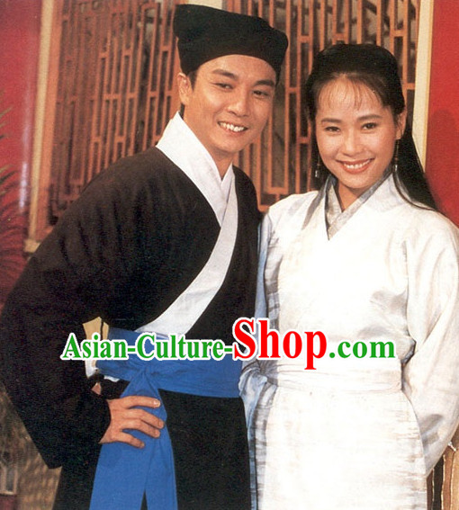 Traditional Chinese Ancient Peasant Husband and Wife Costume 2 Complete Sets for Men and Women