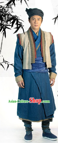 Traditional Chinese Ancien Peasant Costume Complete Set for Men