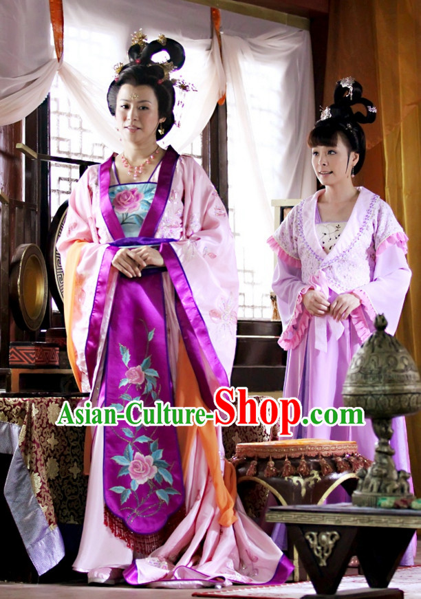 Traditional Chinese Ancient Princess Dresses and Headdress Complete Set