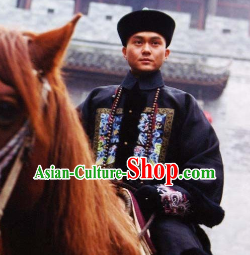 Traditional Chinese Ancient Qing Dynasty Palace Official Costume and Headdress Complete Set