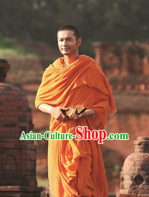 Traditional Chinese Ancient Tang San Monk Costume Complete Set