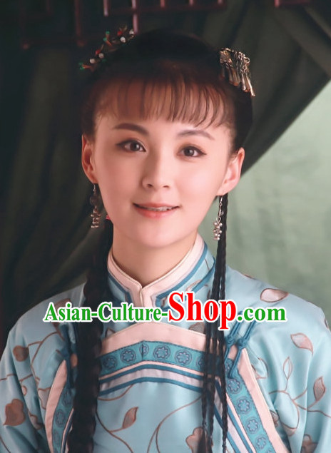 Traditional Ancient Chinese Style Lady Female Black Full Wigs and Headpieces Hair Jewelry Set for Women and Girls