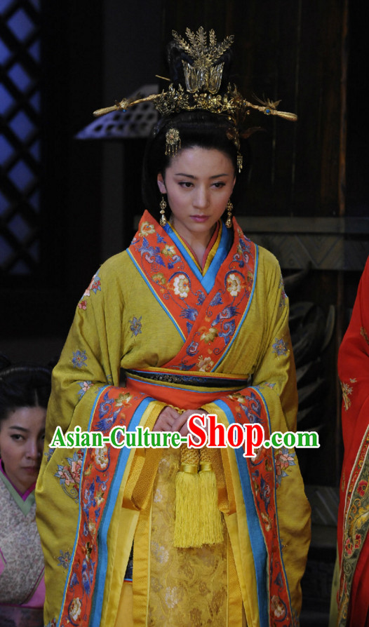 Custom Made Made to Order Traditional Chinese Style Ancient China Princess Hanfu Clothing Garment Clothes Suits Dresses and Hair Jewelry Complete Set for Women Children